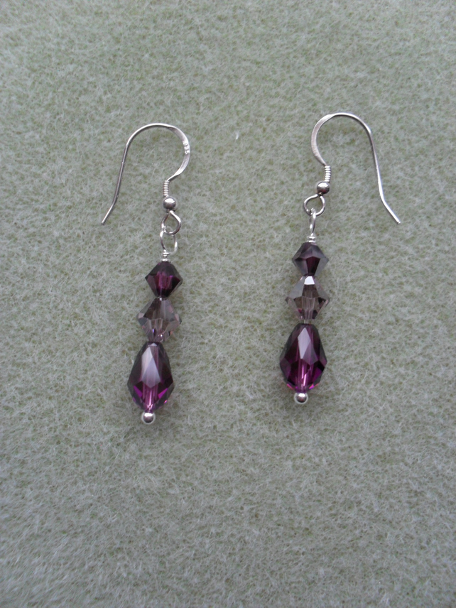 Sterling Silver Purple Drop Earrings With Swarovski Crystals