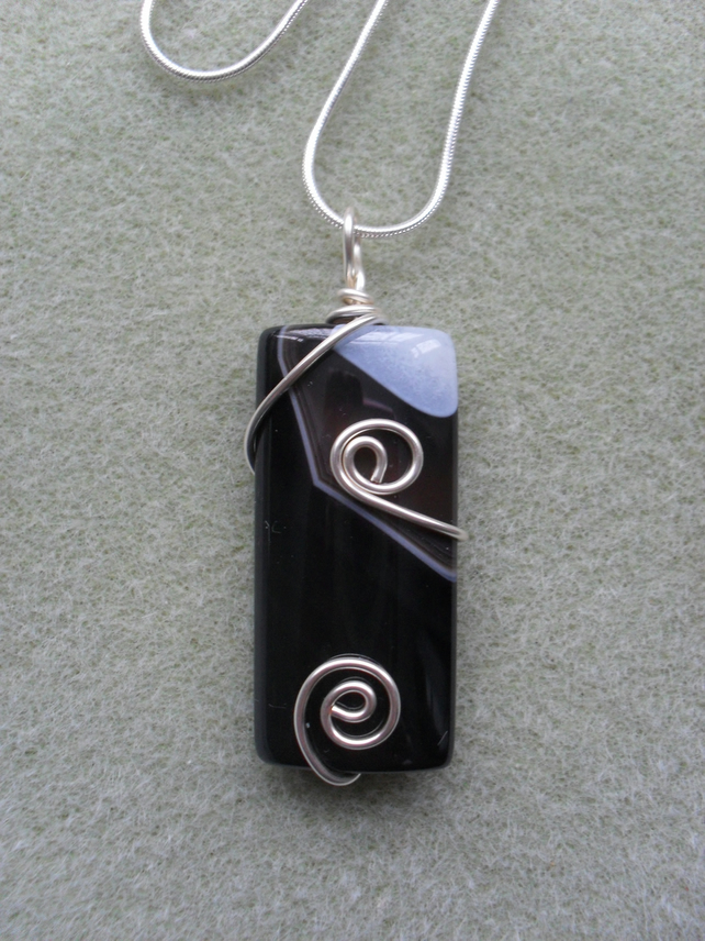 Black Agate and Quartz Pendant AG005