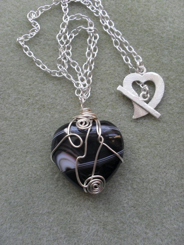Black Agate Heart Pendant