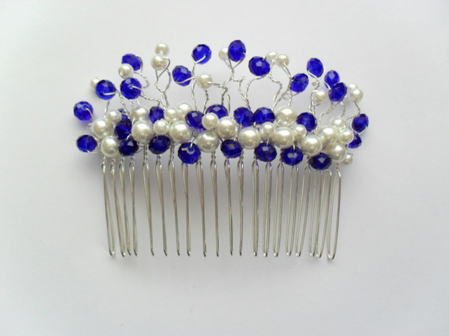 Blue Crystals and Glass Pearl Hair Comb HC012