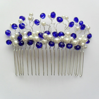 SALE Blue Crystals and Glass Pearl Hair Comb HC012