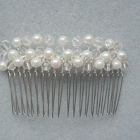 SALE Glass Pearl and Crystal Hair Comb HC003
