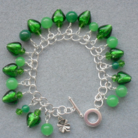 Clearance Emerald Green Charm Bracelet