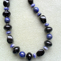 Sterling Silver with Black Onyx Lapis Lazuli and Sodalite Necklace