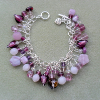 Clearance Lilac and Purple Charm Bracelet