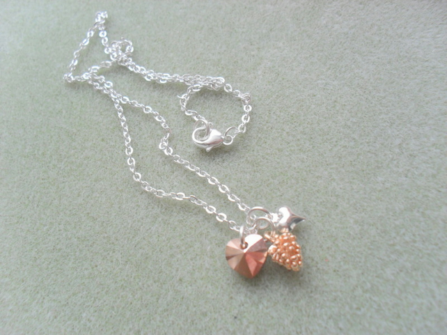 Silver and Rose Gold Coloured Charm Necklace