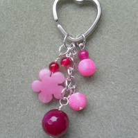 Pink Agate and Quartzite Keyring