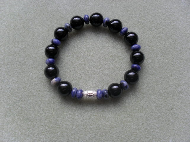 Black Agate and Sodalite Bracelet With Sterling Silver