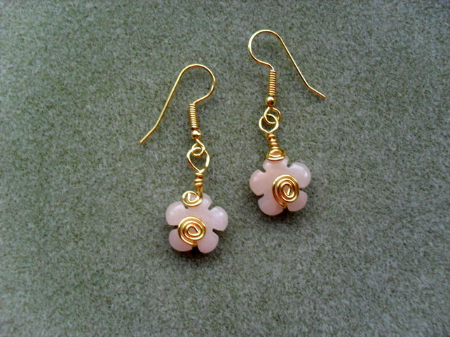 SALE!! was 4.50 now 2.50 Quartzite Flower Drop Earrings