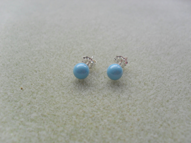 Turquoise Pearl Stud Sterling Silver Earrings With Pearls From Swarovski