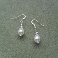 Pearl and Crystal Sterling Silver Earrings With Pearls From Swarovski