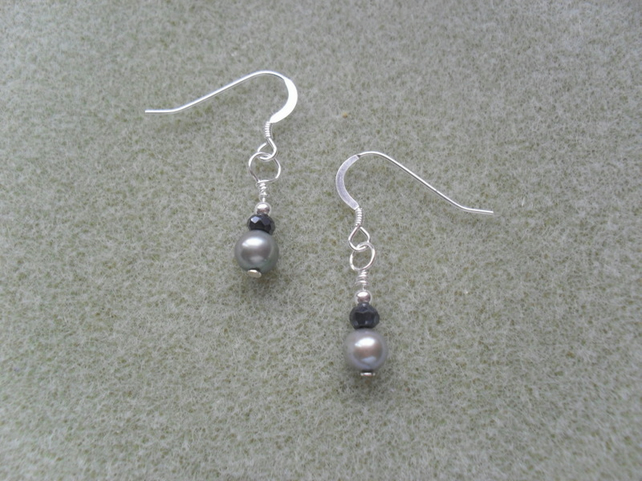 Sterling Silver Pearl and Spinel Earrings