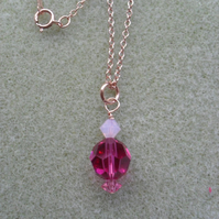 Rose Gold Filled Necklace With Crystals From  Swarovski