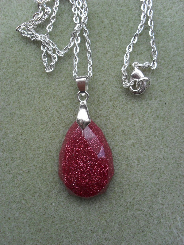 Clearance Pear Shaped Glitter  Resin Pendant