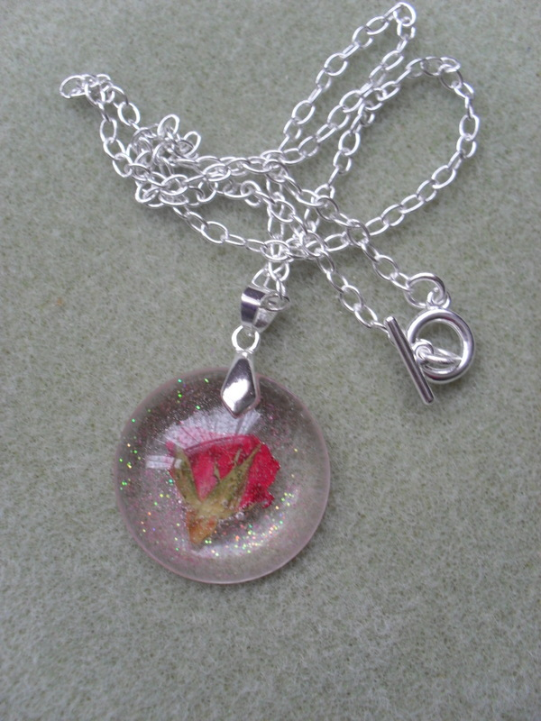 SALE Red Rose Resin Pendant