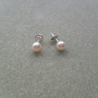 Sterling Silver Stud Pearl Earrings With Pearls From Swarovski