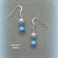 Sterling Silver Turquoise and Ivory Earrings with Pearls From Swarovski