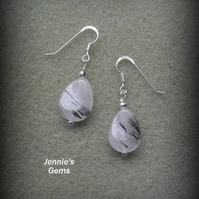 Sterling Silver Rutile Quartz Earrings