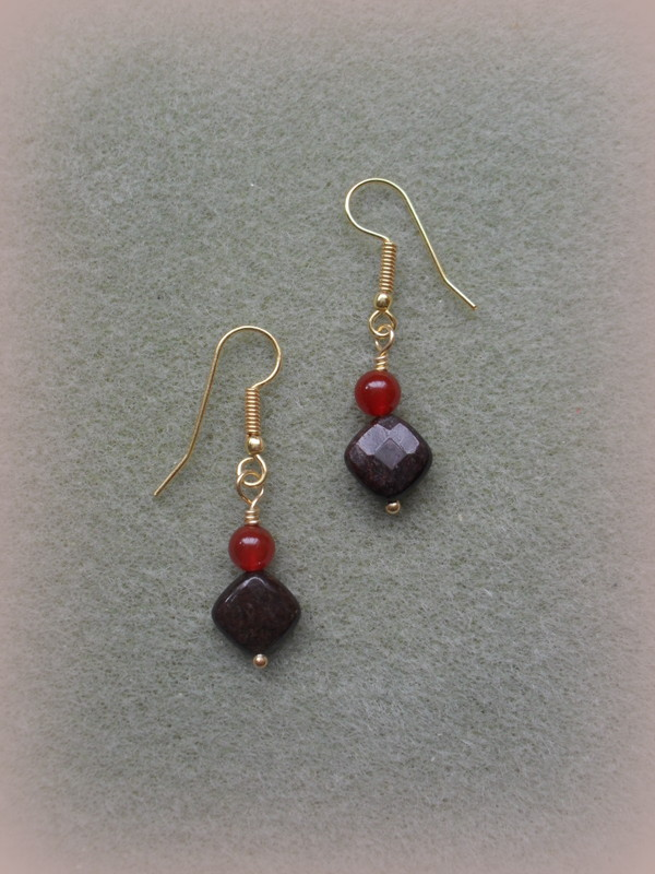 Bronzite and Agate Earrings