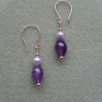 Rose Gold Vermeil Amethyst and Pearl Earrings