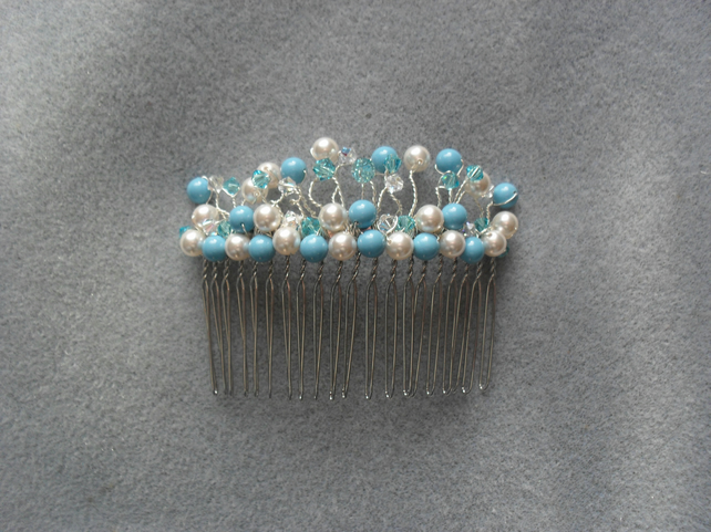 SALE Turquoise, Ivory Pearl and Crystal Hair Comb With Swarovski