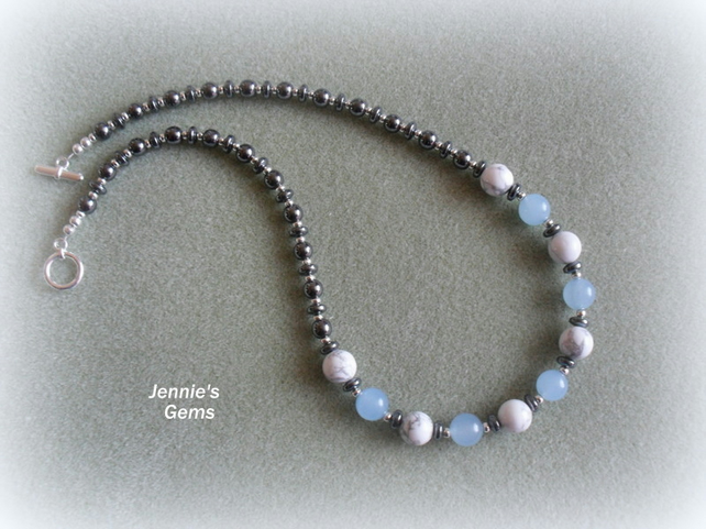 Haematite,Quatzite and Howlite Necklace