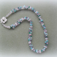 Semi Precious Gemstone Necklace Including Amethyst and Quartz