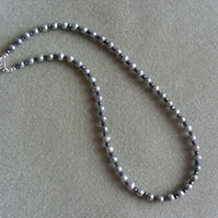 Sterling Silver Freshwater Pearl and Spinel Necklace