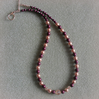 Blackberry and rose gold Coloured Pearl Necklace With Swarovski Elements