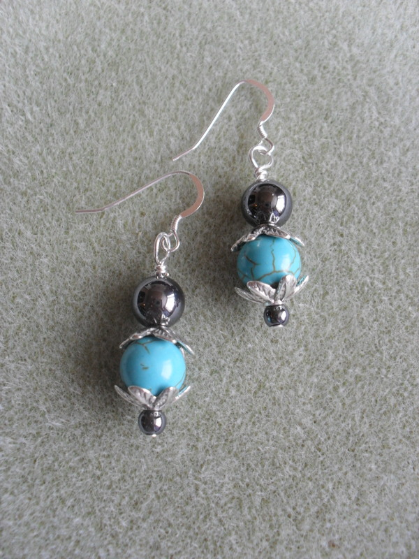 Turquoise Coloured Stone and Haematite Earrings EA103