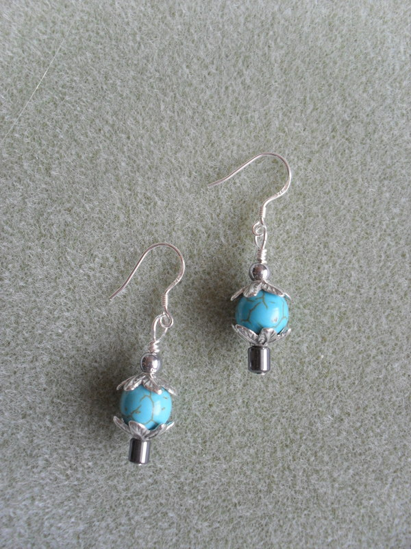 Turquoise Coloured Stone and Haematite Earrings EA105