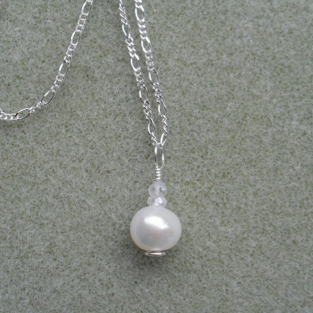 Sterling Silver Cultured Pearl Drop Necklace