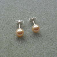Gold Crystal Pearl Stud Sterling Silver Earrings With Pearls From Swarovski