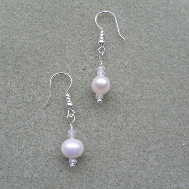 Pearl Earrings Sterling Silver Cultured Freshwater Pearl Drop Earrings