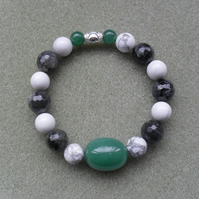Gemstone Stretch Bracelet With Sterling Silver