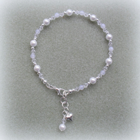 White beaded Anklet Bracelet AN004