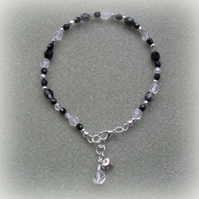 Black and Silver Anklet AN007