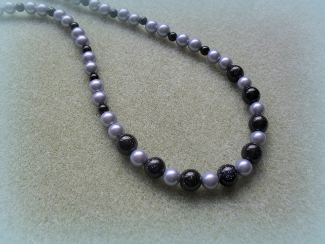 Blue Goldstone and Shell Pearl Necklace Sterling Silver