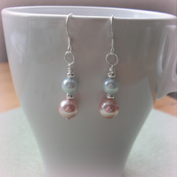 Pink and Aqua Shell Pearl Earrings