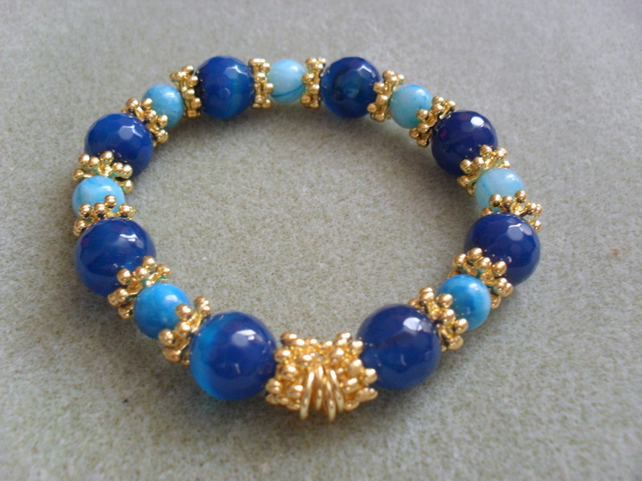 SALE Blue Agate and gold beaded Bracelet