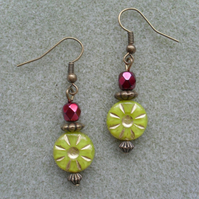 Czech Starburst Vintage Earrings
