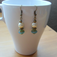 Vintage Bronze and Czech Glass Earrings