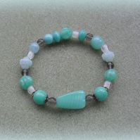 Czech Glass Beaded Bracelet in Aqua Colours