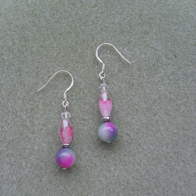 Quartz and Czech beaded Earrings