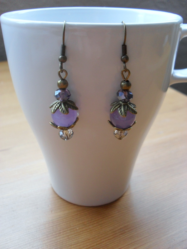 Lilac Quarzite and Crystal Earrings