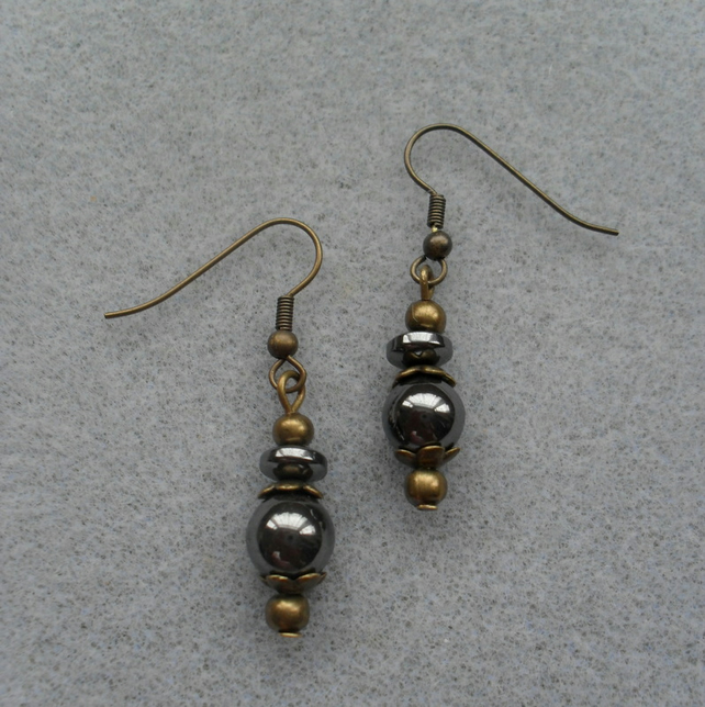 Haematite Bronze Tone Earrings