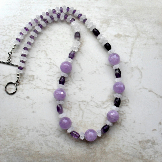 Amethyst and Quartz Silver Necklace
