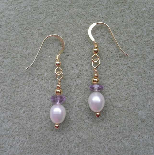 Gold Vermeil Pearl and Amethyst Earrings