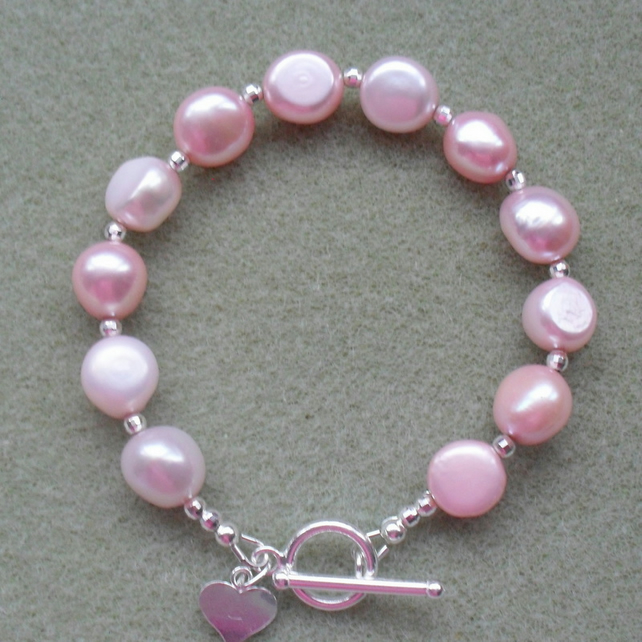 Pink Cultured Pearl Sterling Silver Bracelet