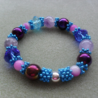 Purple and Blue Stretch Bracelet